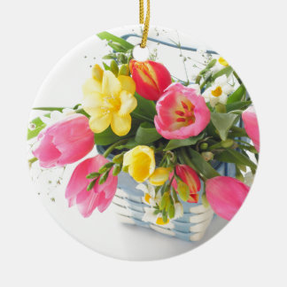 Spring flowers in basket ceramic ornament