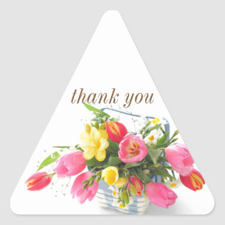 Spring flowers in basket triangle sticker