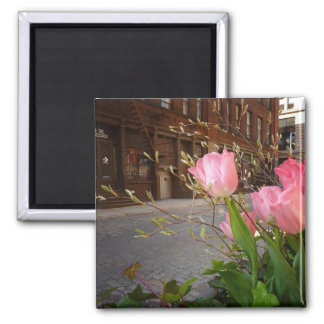 Spring Flowers in Soho, New York City 2 Inch Square Magnet