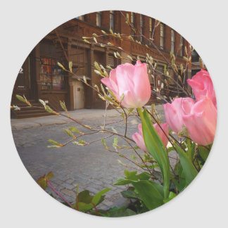 Spring Flowers in Soho, New York City Classic Round Sticker