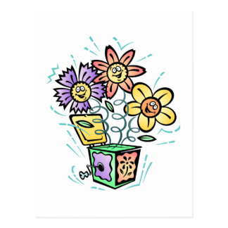 Spring Flowers Jack in Box Postcard