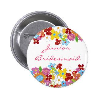 Spring Flowers JUNIOR BRIDESMAID Wedding Name Tag Pinback Buttons