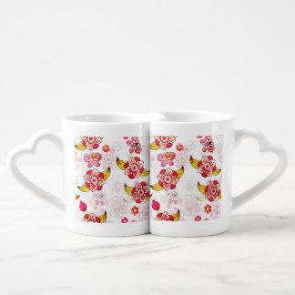 Spring Flowers & Ladybugs Coffee Mug Set