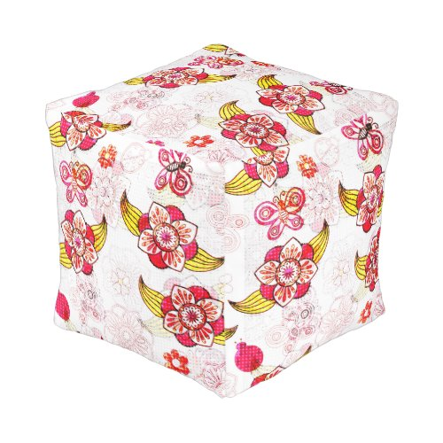 Spring Flowers & Ladybugs Cube Pouf