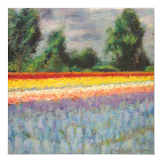Spring Flowers Landscape Triptych Painting 1 of 3 Invitation
