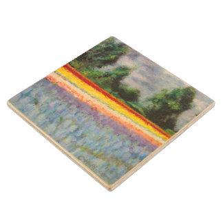 Spring Flowers Mill Painting Triptych image 1 of 3 Wood Coaster