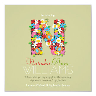 Spring Flowers Monogram Baby Girl Photo Birth Card