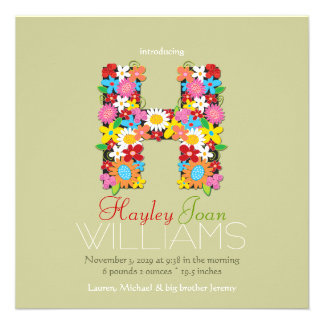 Spring Flowers Monogram Baby Girl Photo Birth Personalized Announcements