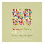 Spring Flowers Monogram Baby Girl Photo Birth Personalized Announcement