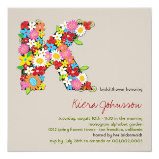 Spring Flowers Monogram Chic Bridal Shower Invite
