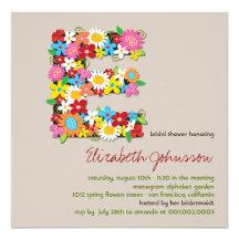 Spring Flowers Monogram Chic Bridal Shower Invite Invitation