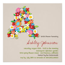 Spring Flowers Monogram Chic Bridal Shower Invite Announcement