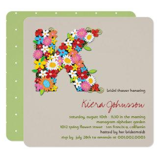 Spring Flowers Monogram K Bridal Shower Invite