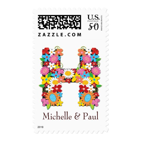 Spring Flowers Monogram Wedding Stamps