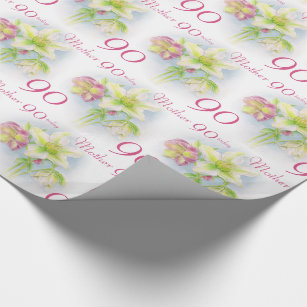 Spring Flowers Mother 90th Birthday Wrap Wrapping Paper