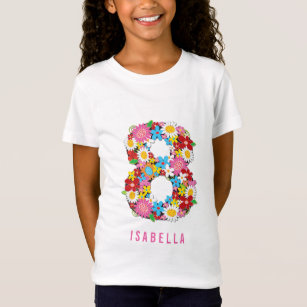 Spring Flowers Number Eight 8th Birthday Party T Shirt