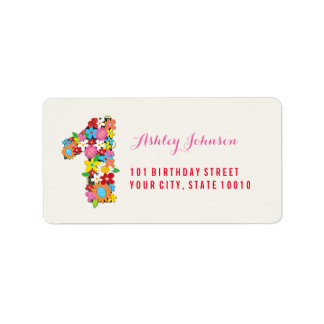 Spring Flowers Number One Girl 1st Birthday Party Address Label