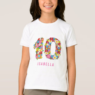 Spring Flowers Number Ten Girl 10th Birthday Party T-Shirt
