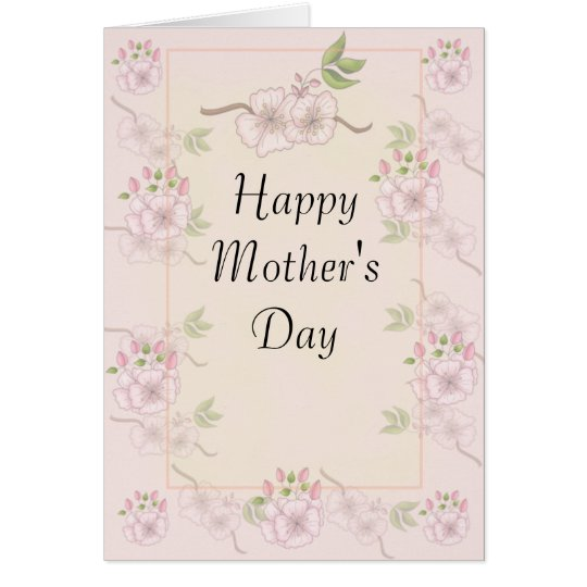 Spring Flowers on Rose Background Mother's Day Card