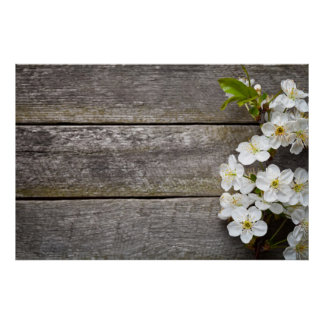Spring Flowers On Wood Background Poster