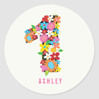 Spring Flowers One Girl 1st Birthday Party Sticker