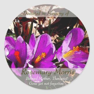 Spring flowers painting ~ Donated in Memory of Round Sticker