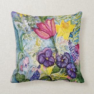 Spring Flowers Pansy Daffodil pastels Throw Pillow