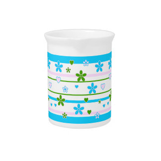 Spring Flowers Pattern Drink Pitcher