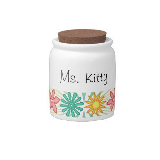 Spring Flowers Pet Treat Jar Candy Dishes