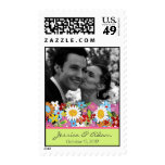 Spring Flowers Photo Wedding Announcement Stamps