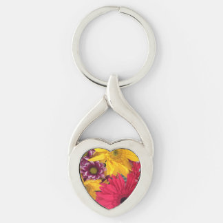 Spring Flowers Silver-Colored Heart-Shaped Metal Keychain