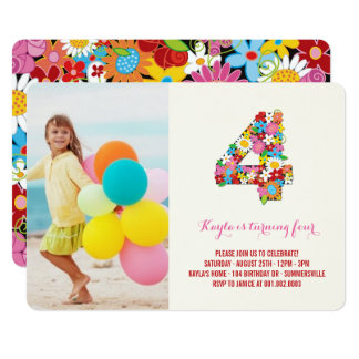 Spring Flowers Pink Four Girl 4th Birthday Invite