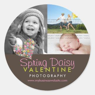 Spring Flowers Pink Heart Business Photo Sticker