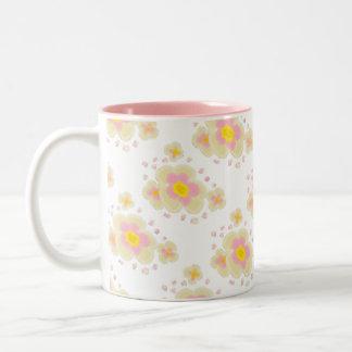 Spring Flowers (pink) Two-Tone Coffee Mug