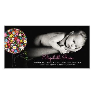 Spring Flowers Pop Tree Girl Birth Announcement