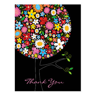 Spring Flowers Pop Tree Wedding Thank You Postcard