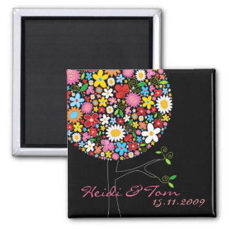 Spring Flowers Pop Tree Whimsical Save The Date Magnets