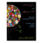 Spring Flowers Pop Tree Whimsical Save The Date Postcards