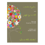 Spring Flowers Pop Tree Whimsical Save The Date Post Cards