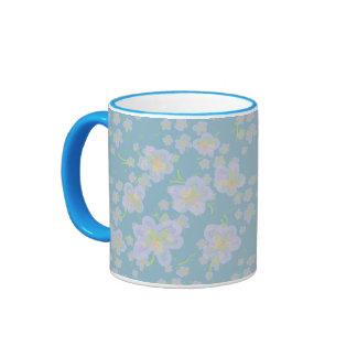 Spring Flowers (purple/aqua) Ringer Mug