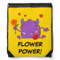 Spring Flowers Purple Monster Drawstring Bag