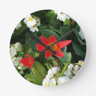 spring flowers red white green wall clock