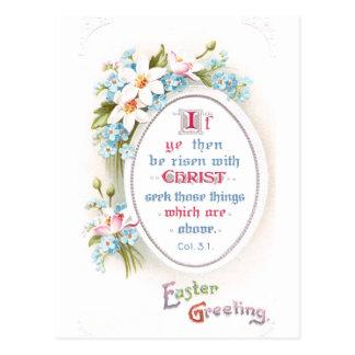 Spring Flowers Religious Vintage Easter Postcard