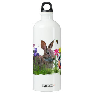 Spring Flowers, Robin,  and Bunny Rabbit Aluminum Water Bottle