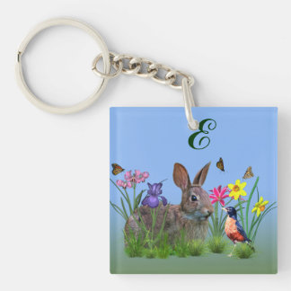 Spring Flowers, Robin,  and Bunny Rabbit Double-Sided Square Acrylic Keychain