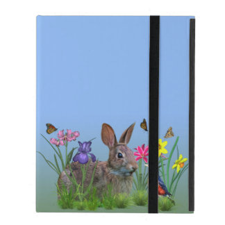 Spring Flowers, Robin,  and Bunny Rabbit iPad Cover