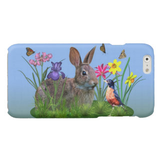 Spring Flowers, Robin,  and Bunny Rabbit Glossy iPhone 6 Case