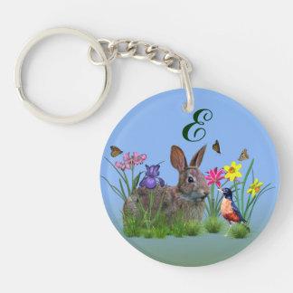 Spring Flowers Robin and Bunny Rabbit Acrylic Key Chain