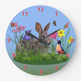 Spring Flowers, Robin,  and Bunny Rabbit Large Clock