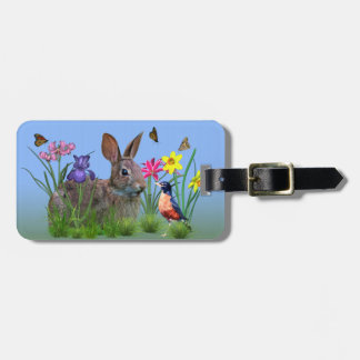Spring Flowers, Robin,  and Bunny Rabbit Luggage Tag